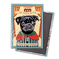 MP-232  Magnet 4-pack - Pug Saint (Black)