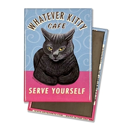 MF-110  Magnet 4-pack - Whatever Kitty, Grey Cat