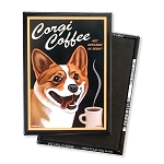 MC-113  Magnet 4-pack - Corgi Coffee