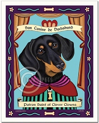 P-121 - 8x10 Art Print - Dachshund Saint - Black and Tan
