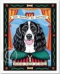 P-180 - 8x10 Art Print - Saint Springer Spaniel - Black & White