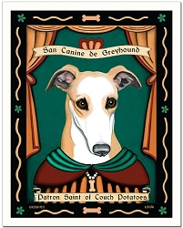 P-197 - 8x10 Art Print - Saint Greyhound - Couch Potatoes