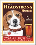 PB-108 - 8x10 Art Print - Beagle Headstrong, Tan & White