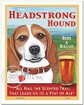 PB-109 - 8x10 Art Print - Beagle Headstrong, Red & Wh, Scenic
