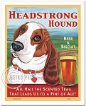 PB-112 - 8x10 Art Print - Basset Headstrong, Red & White, Scenic