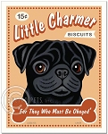 T-106 - 8x10 Art Print - Little Charmer - Black Pug