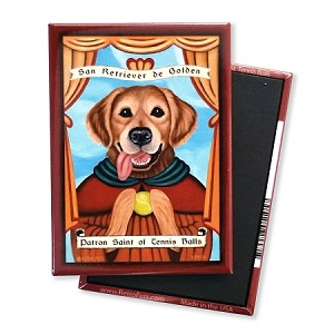 MP-114  Magnet 4-pack - Patron Saint - Golden Retriever, Tennis Balls
