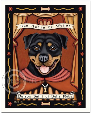 P-117 - 8x10 Art Print - Saint Rottweiler - Belly Rubs
