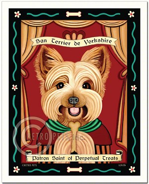 P-128 - 8x10 Art Print - Saint Yorkie - Treats - Puppy Cut