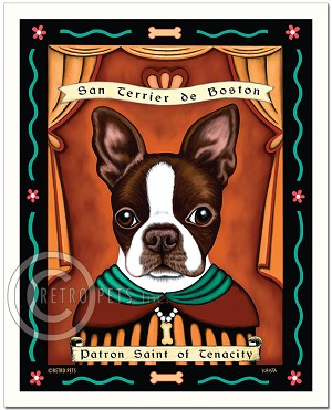 P-159 - 8x10 Art Print - Saint Boston - Brown & White