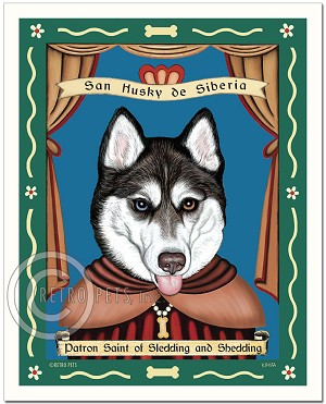 P-249 - 8x10 Art Print - Saint Siberian Husky - Blue/Brown Eyes