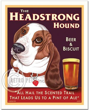 PB-113 - 8x10 Art Print - Basset Headstrong, Solid Background