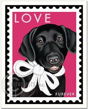 PO-203 - 8x10 Art Print - Black Lab - Furever Stamp