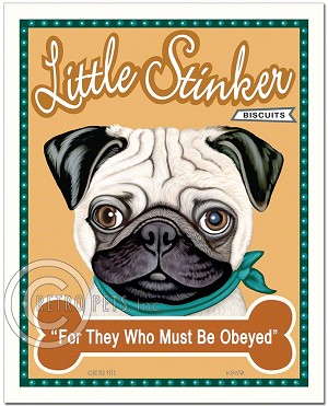 T-107 - 8x10 Art Print - Little Stinker - Fawn Pug